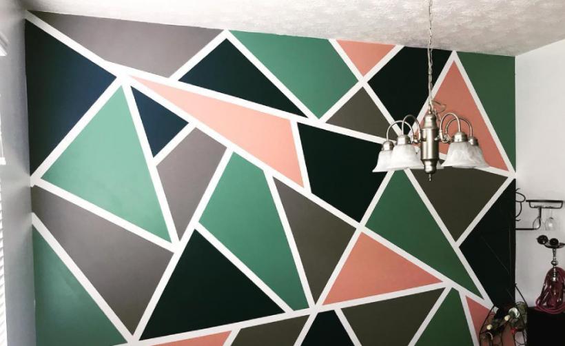 geometrische muur roos